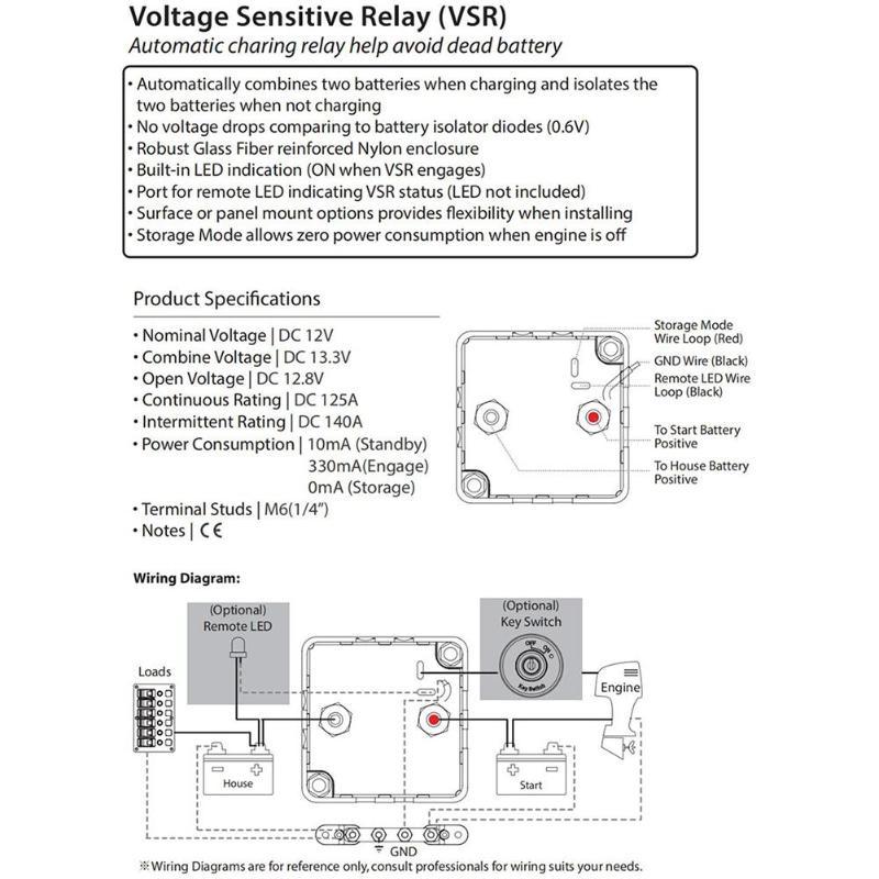bep dvsr dc 12v 140a max digital voltage sensing relay marine boat black