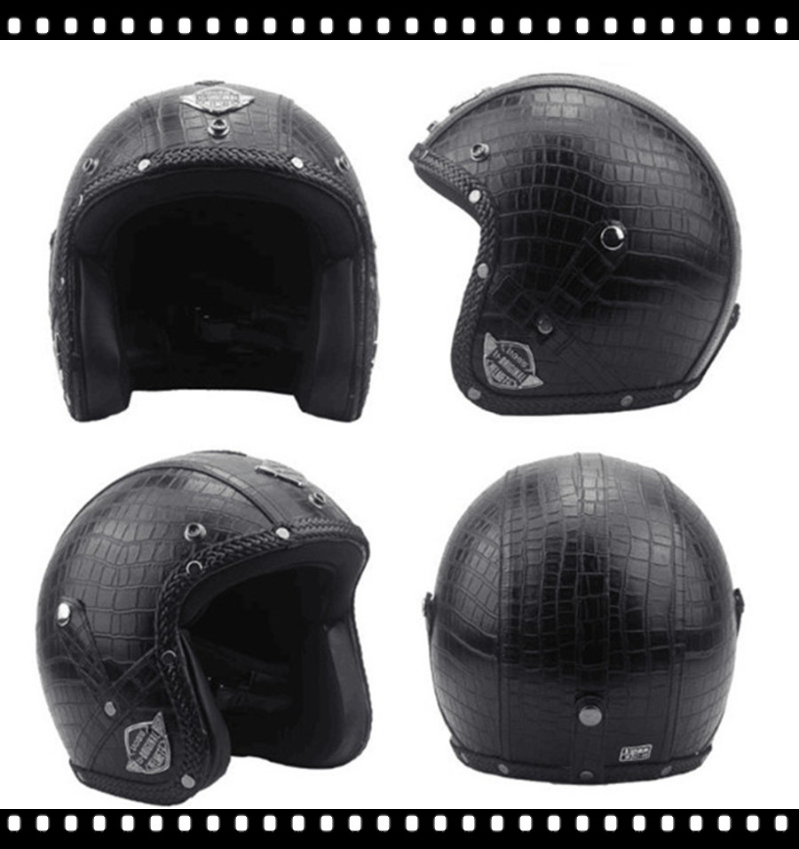 Casque cuir allemand Harley moto Style noir allemand moto rcycle visage ouvert demi casque Chopper motard pilote Vespa camouflage