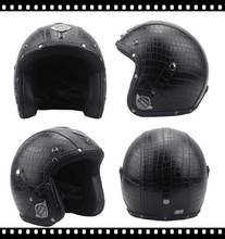 German Leather Helmet Harley moto Style BLACK Motorcycle Open Face Half Chopper Biker Pilot Vespa camouflage