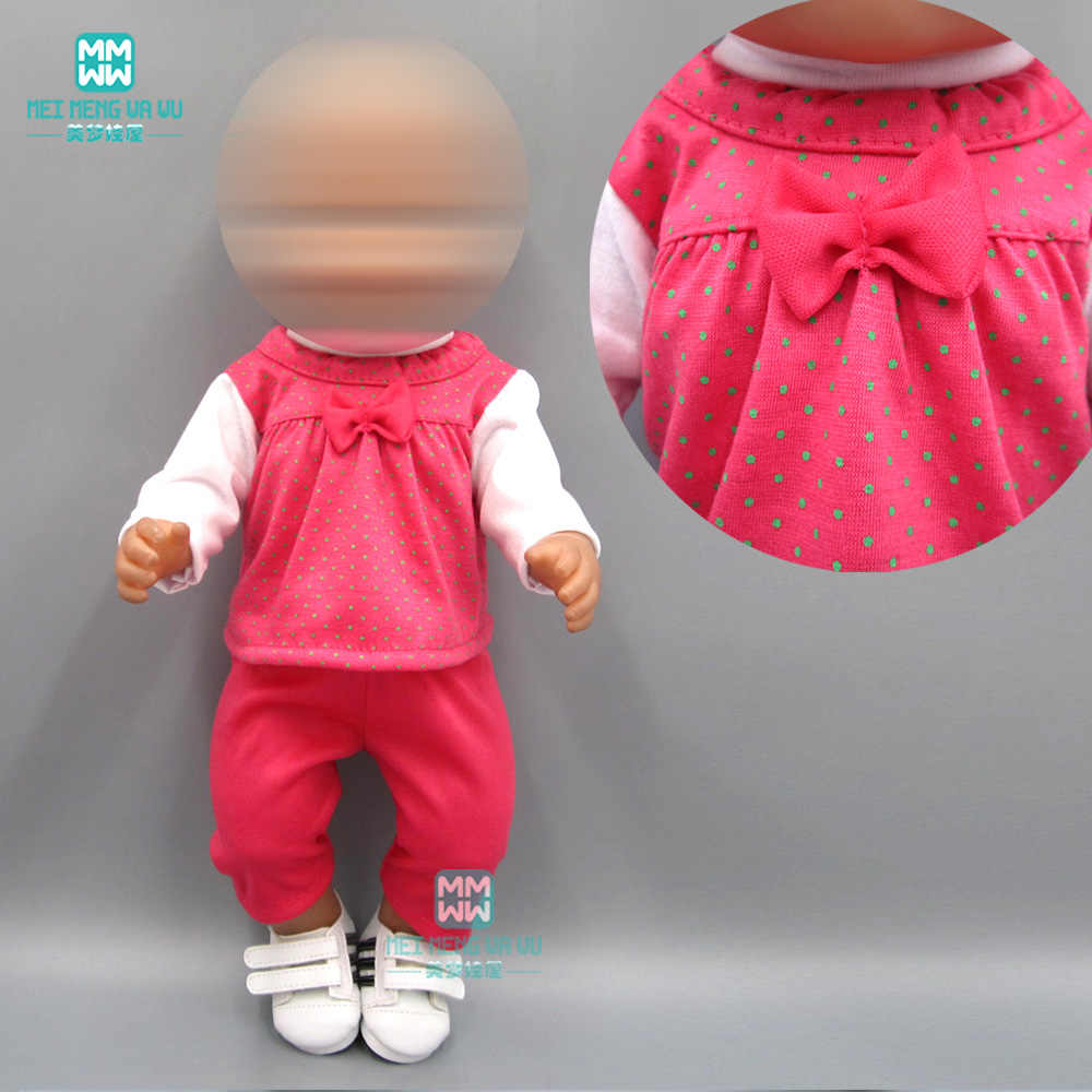 Baby clothes for dolls fits 43cm toy new born doll accessories rose red casual suit