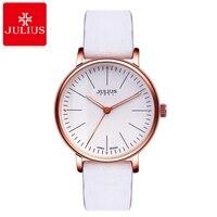 Relógios de pulso de couro Das Mulheres novas mulheres moda casual relógio de quartzo de Japão relógios 3 ATM Famosa marca Julius 814 relógios à prova d' água