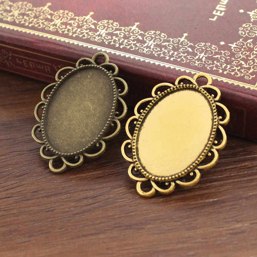 Fit 18x25mm Alloy Bronze antique gold Cameo/Glass/Cabochon Frame bezel Settings, DIY Accessory Charm 20pcs/lot K02681