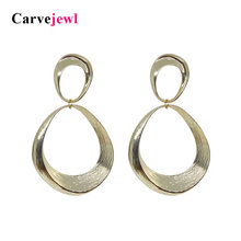 Carvejewl big post earrings two irregular round brushed circle drop dangle earrings for women jewelry new fashion earring hot two tone round drop earrings