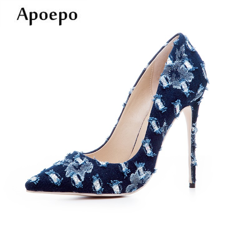 New 12cm high heels fashion pumps shoes Woman sexy pointed toe denim blue stiletto heels slip-on dress heels 2018 spring pointed toe thick heel pumps shoes for women brand designer slip on fashion sexy woman shoes high heels nysiani
