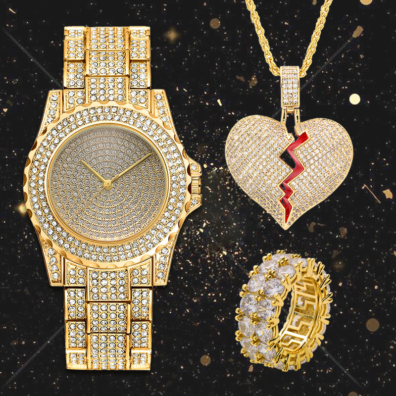 Lureen Hip Hop glacé montre à Quartz coeur brisé pendentif collier CZ grande pierre anneau hommes or Combo ensemble bijoux fête cadeau W0011