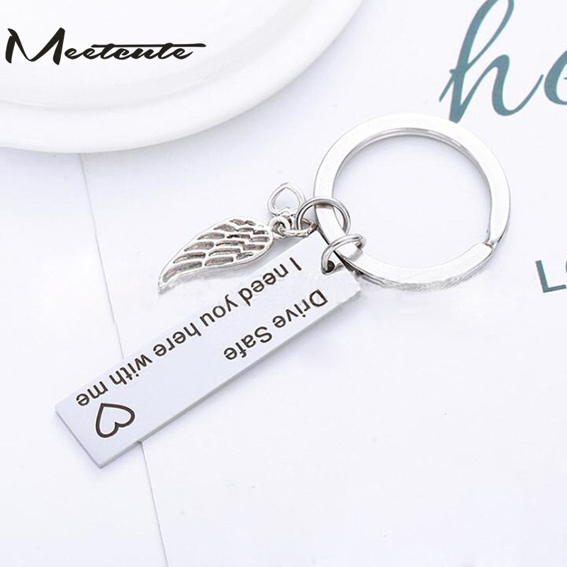 Meetcute Wing and Car Shaped Keychain Wing Drive Safe Boyfriend Gift Couples Key Chain Husband