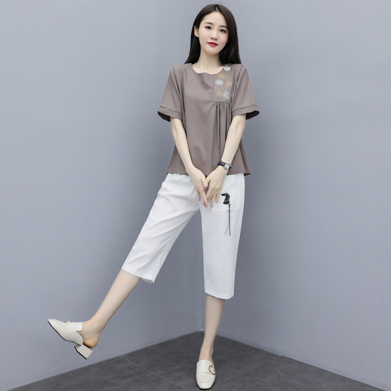 M-3xl Summer Cotton Linen Two Piece Sets Outfits Women Plus Size Embroidery Tops And Cropped Pants Suits Vintage Casual Sets 42