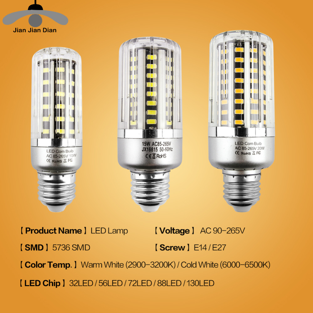 10 Packs JJD E14 LED Corn Bulb 32 56 72 88 130 LEDs E27 LED Lamp Chandelier SMD5736 220V Corn Bulb LED Light Home Decoration
