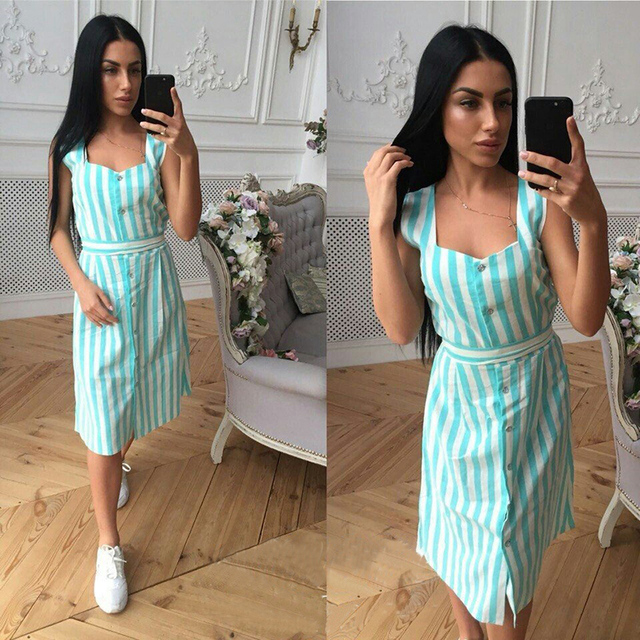 Women Stripe Shirt dress Summer New Square collar sleeveless belt  Elegant dresses Pink Blue Stripe Beach Party Dress