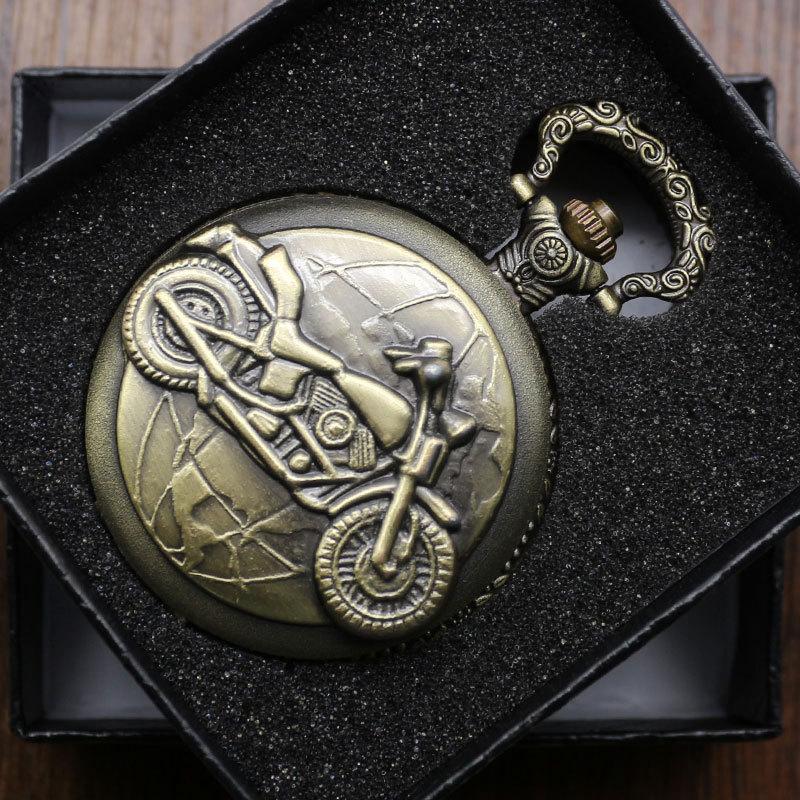 Bronze Motorcycle Motorbike MOTO Pocket Watch Chain Belt Pendant Unisex Xmas Gift With  Box P79C