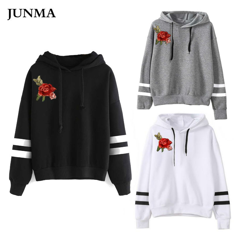 US $7.59 5% OFF|Womens Hoodies Girl Embroidery Hoodie Contrast Color Woman Jacket Sweat Shirt Sudadera Mujer Sweatshirts JM07 in Hoodies & Sweatshirts