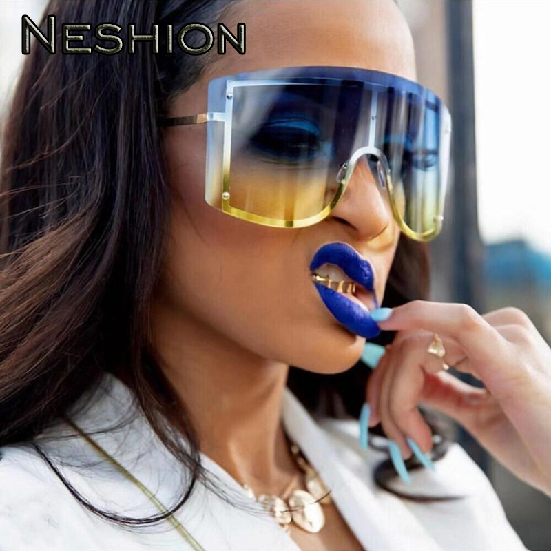 Europe Fashion Oversized Women Sunglasses Gradient Mirror Hiphop Rapper Eyewear Brand Designer Outdoor Night Club Punk Glasses in Women 39 s Sunglasses from Apparel Accessories