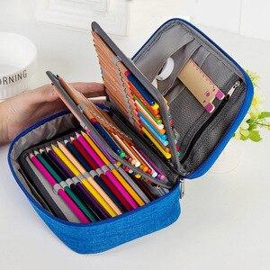 Image 1 - 소녀를위한 캔버스 학교 연필 케이스 소년 72 구멍 펜 상자 다기능 보관 가방 케이스 파우치 학생 문구 용품