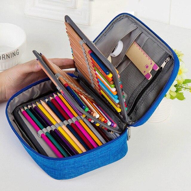 소녀를위한 캔버스 학교 연필 케이스 소년 72 구멍 펜 상자 다기능 보관 가방 케이스 파우치 학생 문구 용품