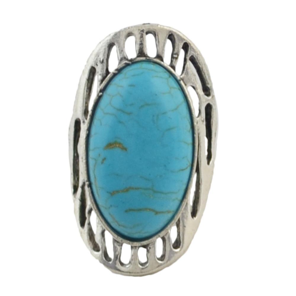 Big Round Turquoise Stone Adjustable Boho Ring Bohoshelf