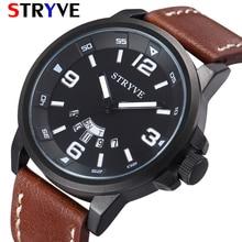 Stryve Brand New Mens Business Wristwatches Date Week 30M Waterproof Leather Fashion Quartz Luxury Watch Men relogio masculino