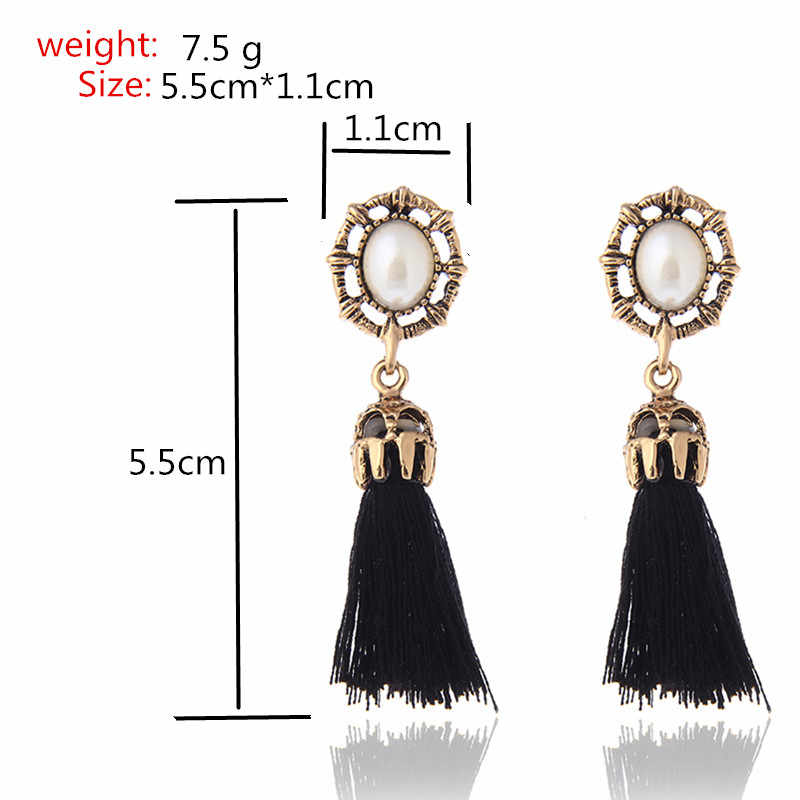 E0232 Bohemian Style Vintage Black Red Gray Tassel Drop Earrings For Women Charming Pearl Dangle Earrings Brand New Wholesale