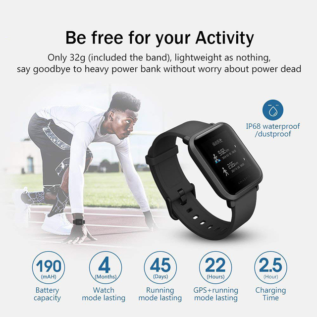 International Version  Amazfit Bip Smart Watch Huami GPS Smartwatch Android iOS 45 Days Battery  IP68 Original