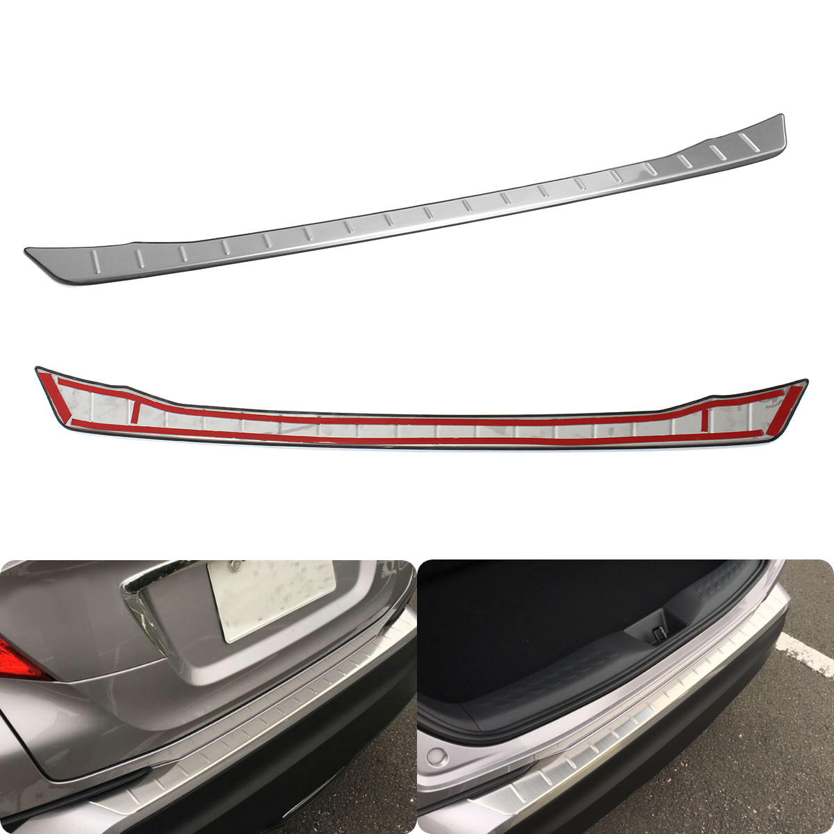 Stainless Steel Rear Trunk Pad Wheel Fender Backplate Protective Guard Plate Trim For Toyota CHR 2016 2017 2018|Trunk trim| |  -