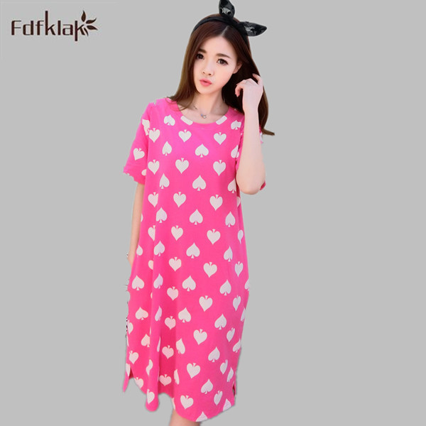 New 2016 women long nightgowns spring summer cotton nightshirts and ...