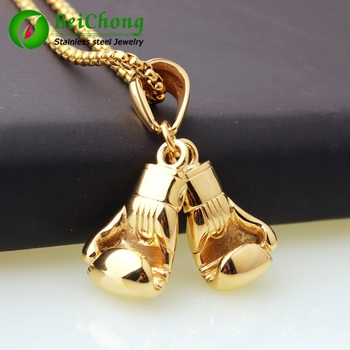 (10 pieces/lot) Men Necklace & Pendant Gold Color Stainless Steel Chain Pair Boxing Glove Charm Fashion Sport Fitness Jewelry