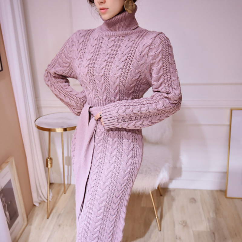 19 Winter Temperament Bursting Elegant Lace Waist Twist High Collar Knit Bottoming Sweater Dress dropshipping 5