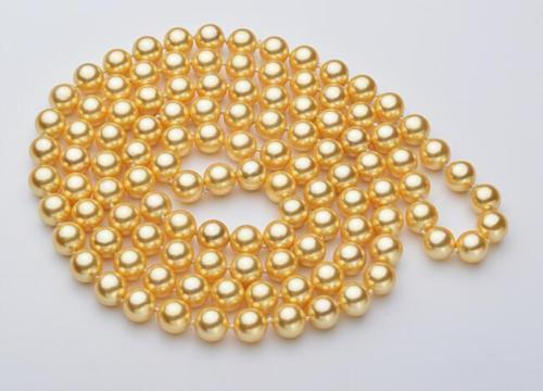 charming long AAA 9-10mm round Akoya yellow pearl necklace 36 inch free shipping цена и фото