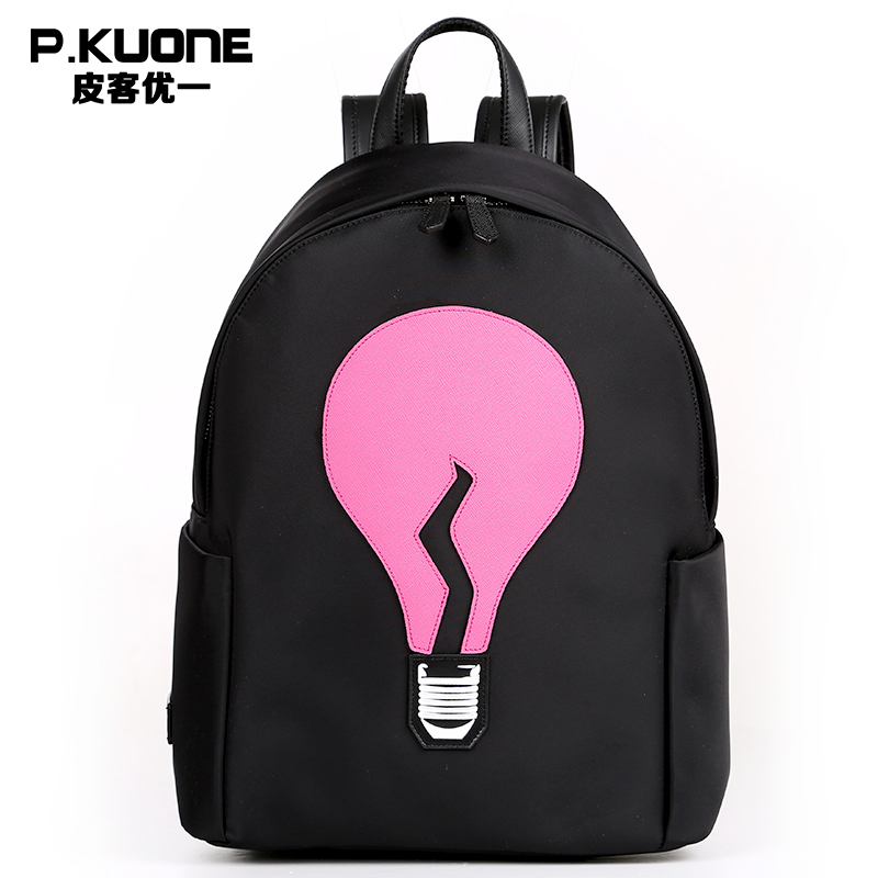 P.KUONE Light Bulb Fashion Design Canvas Women Backpack Mini Shoulder Bag For School Teenager Girls Casual Travel Daily Backpack рюкзак manbags korean fashion canvas shoulder teenager backpack travel bag