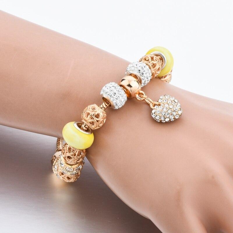 Crystal Heart հմայքը Ապարանջաններ կանանց - Նորաձև զարդեր - Լուսանկար 5