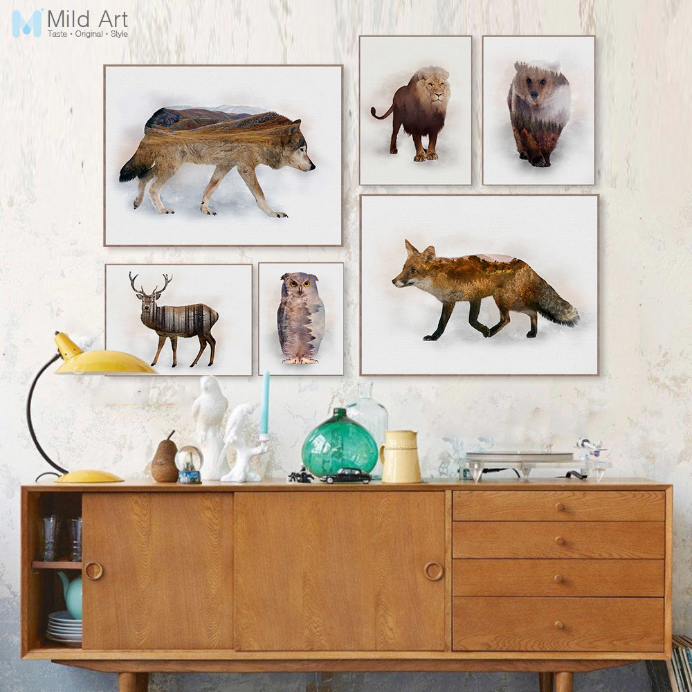 Modern Abstract Original Wild Animal Deer Wolf Mountain Forest Canvas Art Print Poster Wall