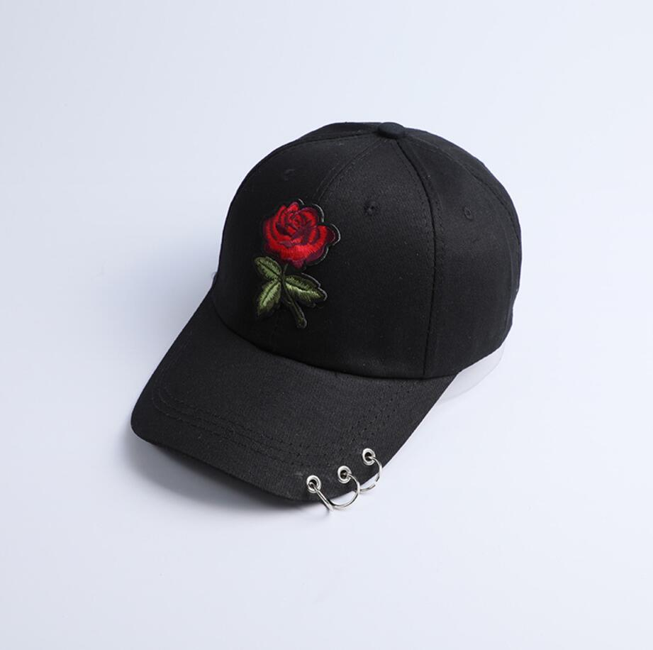 Red Rose Flower Baseball Cap Women Solid Color Snapback Cap With Metal Rings Dad Hat Female Hip Hop Sun Visor 2017 Autumn Winter