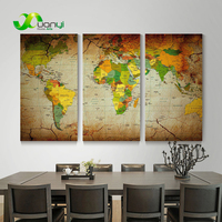 3 Panel Classical World Map Canvas Art Oil Painting Wall Art Picture For Living Room World Map Painting On The Wall Art Unframed
