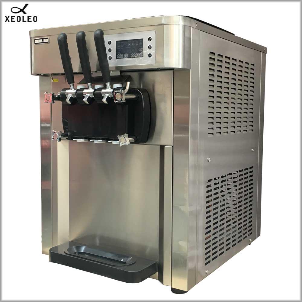 XEOLEO machine à crème glacée molle machine à crème glacée automatique 2500W acier inoxydable yaourt crème glacée 3 saveurs 30L/H refroidissement par Air