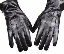 Leather Glove Mens Straight Button Style Sheepskin Gloves Brown Velvet lining Autumn & Winter Season Free Shipping