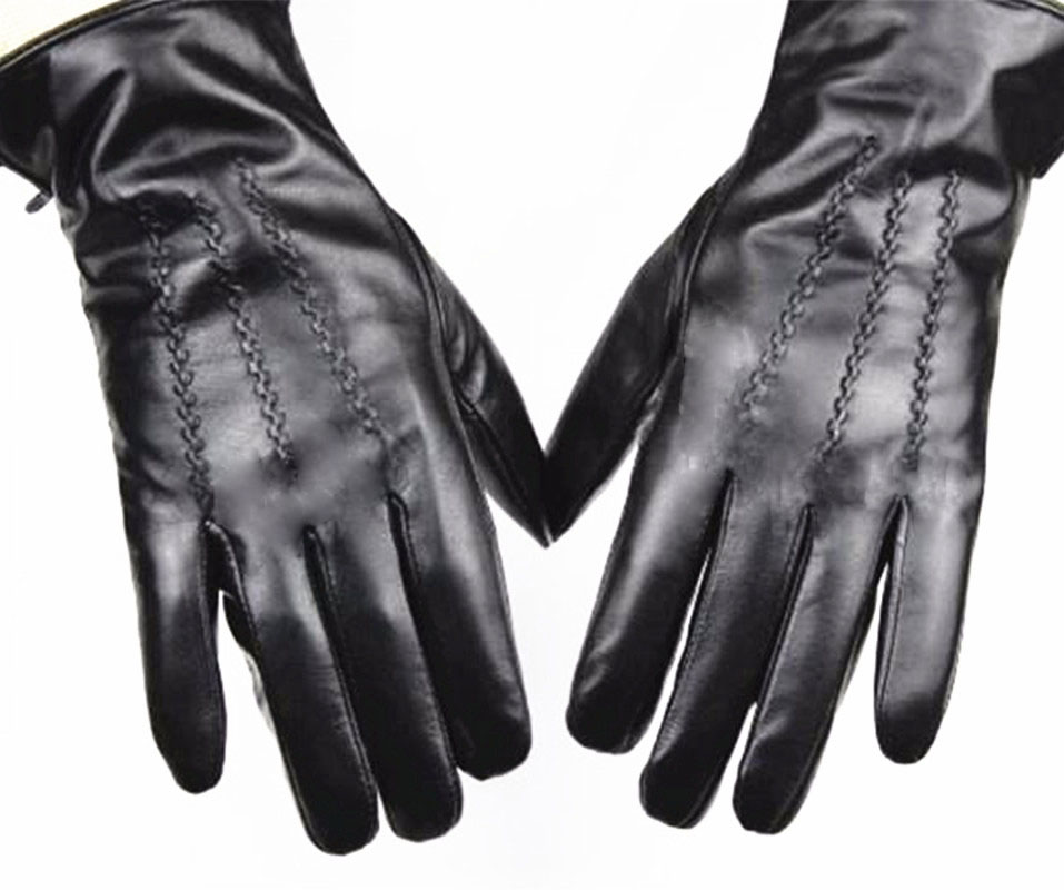 2019 New Leather Sheepskin Gloves Men's Straight Button Style Velvet Lining Autumn And Winter Warm Free Shipping