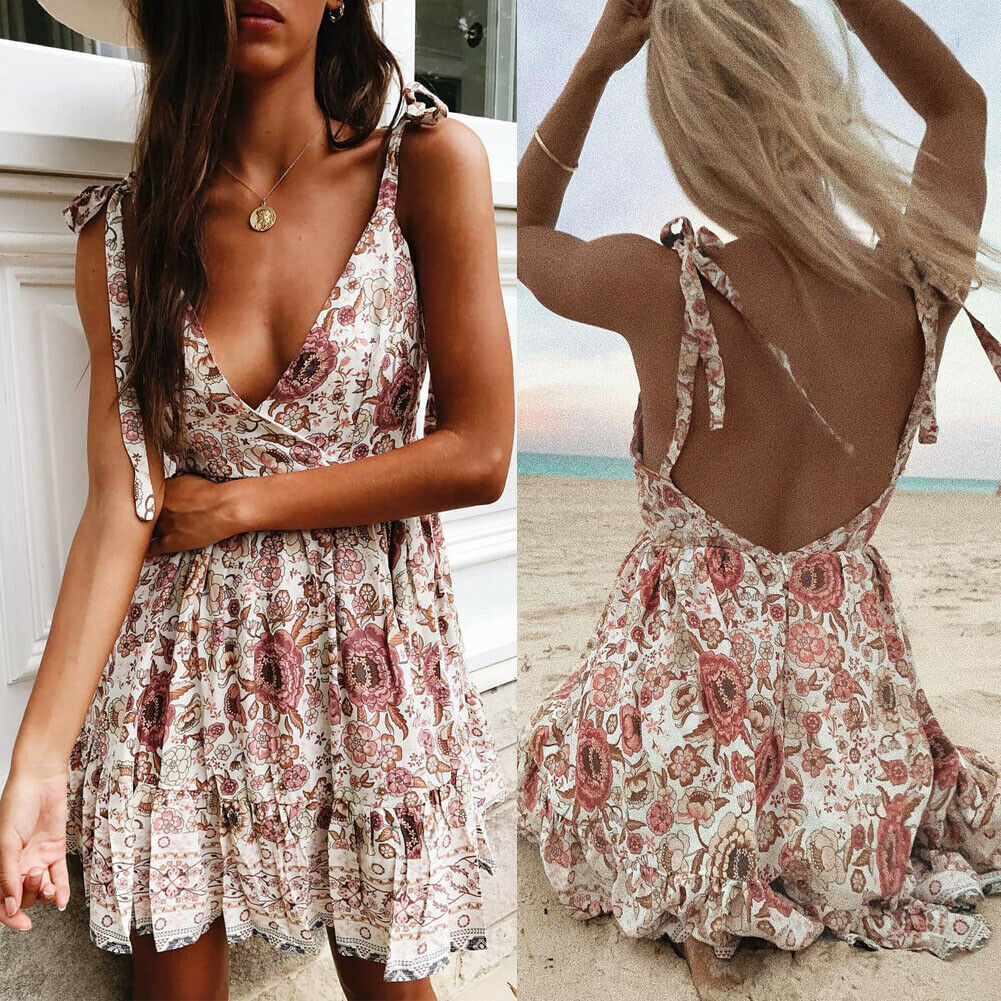 CA 2019 Women Summer Off Shoulder Backless Printed Dress Beach Short Sundress