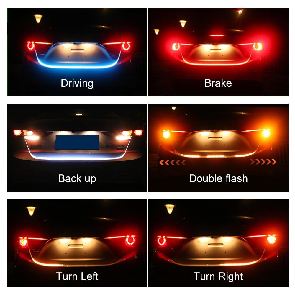 Coche señal de giro ámbar Led flujo tira tronco cola Luz de hielo azul LED DRL luz diurna freno rojo luz