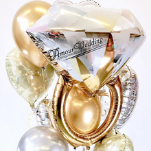 1pc Gold Diamond Ring Foil Balloon Rose Bride to Be Love Letter Bridal Shower Wedding Engagement Decoration