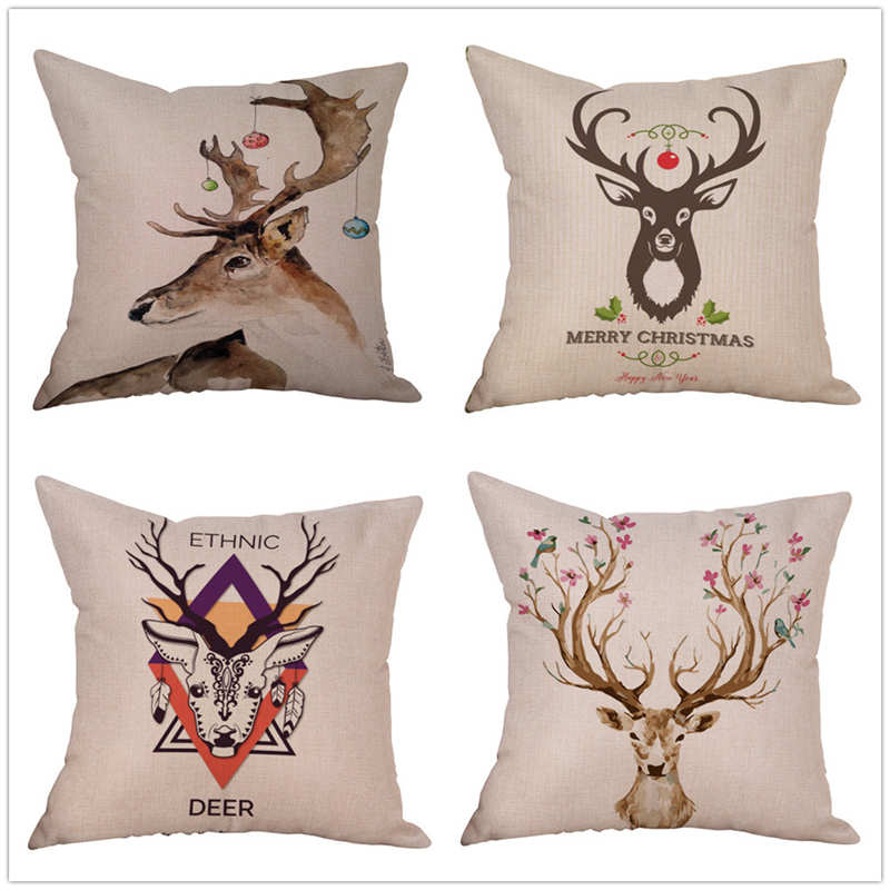 New Cotton Linen Christmas Deer Pillow Case Cover Home 45 * 45cm Decorative Throw Pillow Case Cover #2n16