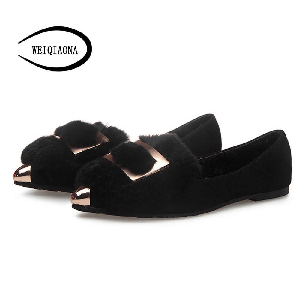 WEIQIAONA 2018 ขนาดใหญ่ 33-43 ตุ๊กตาสั้นแฟชั่นรองเท้าผู้หญิงรองเท้าแบนต่ำรองเท้า Loafers Toe สุภาพสตรีรองเท้าผู้หญิงรองเท้า