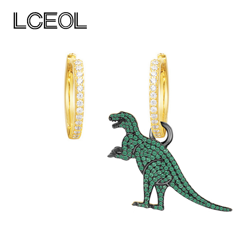LCEOL Monaco Brand Gold Color AAA Zircon Animal Dinosaur Asymmetric Earrings for Women 925 Sterling Pin Jewelry Drop Earring
