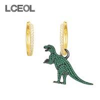 LCEOL Monaco Marca Oro AAA Zircone Color Dinosauro Animale Orecchini Asimmetrici per Le Donne 925 Sterling Pin Gioielli Orecchino di Goccia