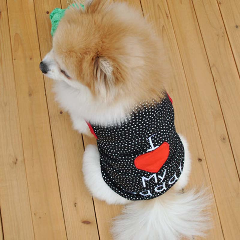 I Love My Daddy Puppy Vest T Shirt Summer Pet Apparel Cute Big Red Heart Small Dog Cat Pet Clothes Dots T-shirt XS S M L4