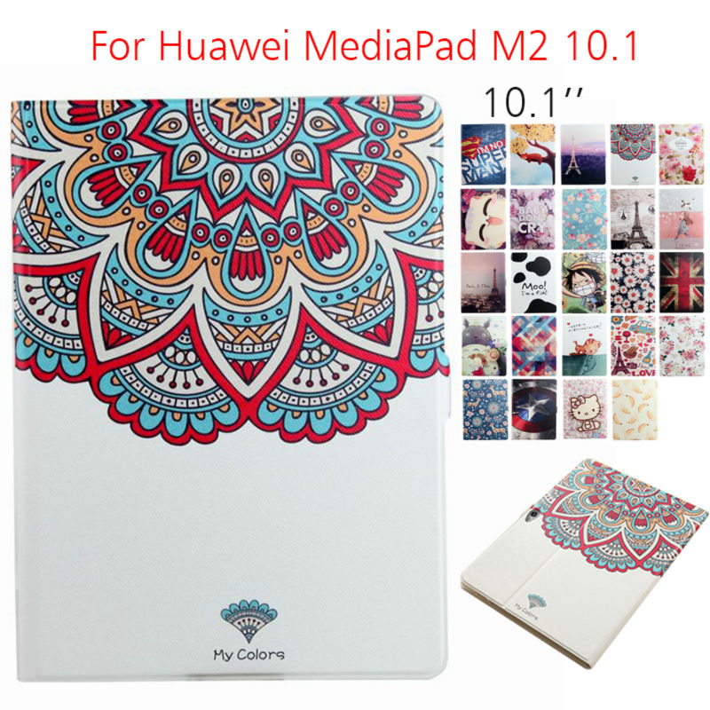 MediaPad M2 A01W Tablet Case Funda 10.1'' Flip Print Leather Cover Protective Stand Cases For Huawei MediaPad M2 10.0-A01W A03L fashion print magnet protective stand cover pu leather funda case for huawei mediapad t2 8 0 pro honor tablet 2 8inch tablet