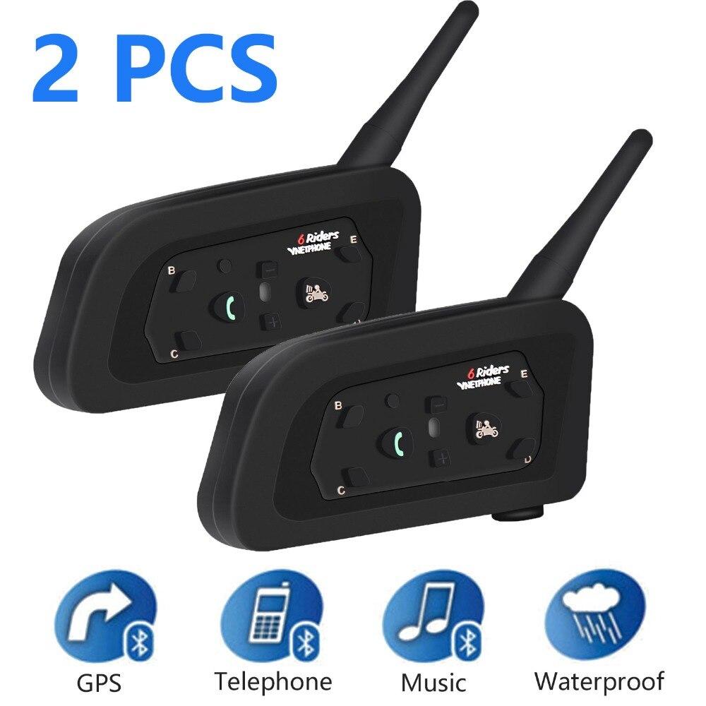 2 uds V6 intercomunicador con Bluetooth, reproductor de música, inalámbrico, manos libres para moto, auriculares, comunicador resistente al agua a la moda para 6 conductores