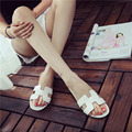 Summer Women H-shaped Slippers Flat heels Slides Simple Casual Slippers White Silver Black and Gold colors