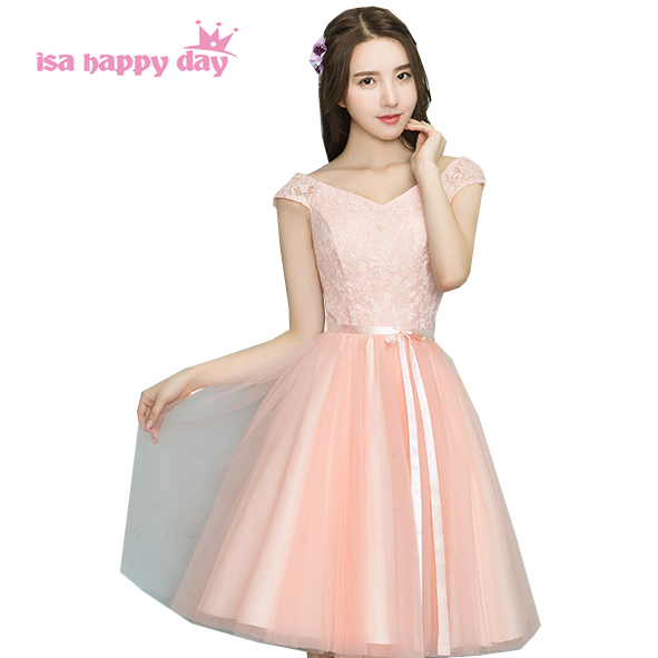 short tulle peach colored v neck sleeveless made of bride girls   bridesmaid     dress   teens   dresses   bridal ball gown H4099