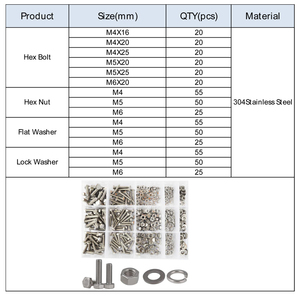 Image 3 - DIN933 Hex Flat Head Bolt Nut Hexagon Thread Metric Screw Flat and Lock Washers Set Assortment Kit 304 Stainless Steel M4 M5 M6