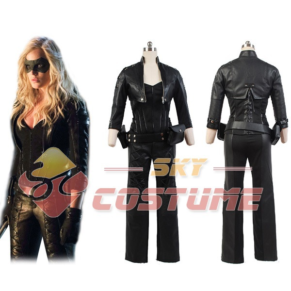 Green Arrow Costume Black Canary Sara Lance Artificial Leather Outfit Jacket Gloves For Adult Women Halloween Cosplay Full Set
