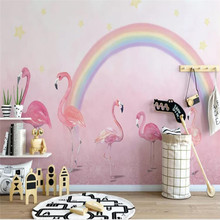 Custom wallpaper hand-painted flamingo childrens room princess pink background wall high-grade waterproof material